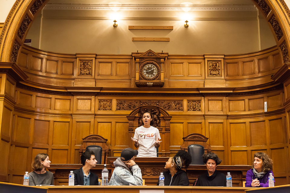CroydonCEP - A member of the Croydon Youth Arts Collective presents at a youth-led debate in the Council Chamber about 'the Future of the Arts in Croy